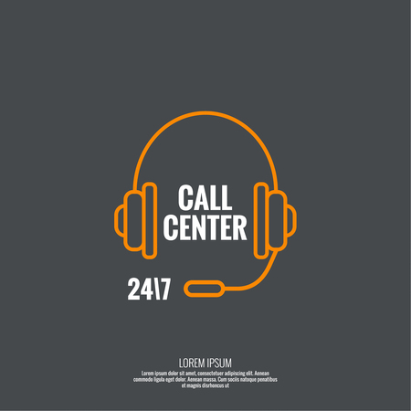 dialer: Abstract background with headphone. Icon. Call technical support. 24, 7. helpline, support service. Contacts. vector. minimal, outline, pictogram