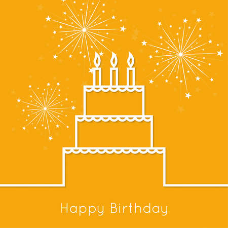 lighted: Abstract background with birthday cupcake and lighted candle. Outline. minimal.