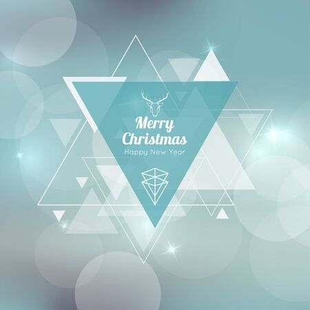 hovering: Abstract blurred background with triangular banner and hovering triangles. Merry Christmas. Happy New Year. Illustration