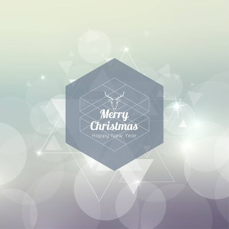 hovering: Abstract blurred background with hexagon banner and hovering triangles. Merry Christmas. Happy New Year.