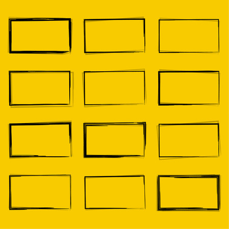 lijntekening: Set hand getekende rechthoek, viltstift objecten. Tekstvak en frames. Stock Illustratie