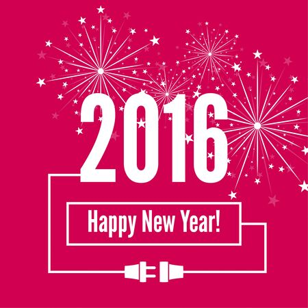 turns of the year: Connecting to the new year 2016. creative happy new year design. Flat design with shadow. Outline. plug with socket Illustration