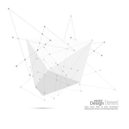 poligonos: Resumen de la forma poligonal geométrica con partículas, estructura de la molécula. poli baja y estilo minimalista.