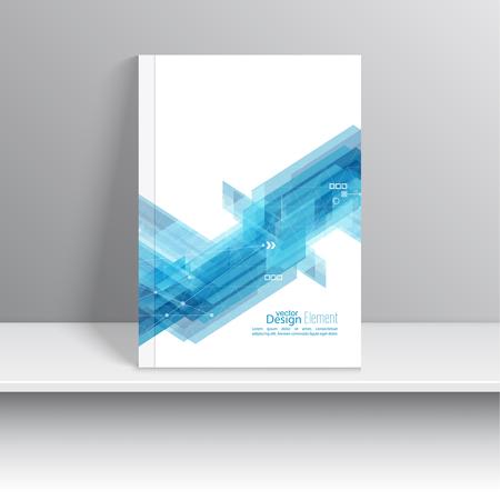 Magazine Cover met blauwe strepen hoek, driehoeken. Voor boek, brochure, poster, brochure, folder, briefkaart, visitekaartje, jaarverslag.