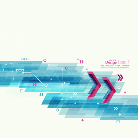 Abstract background with blue stripes, plus and curves. Concept  new technology and dynamic motion. Digital Data Visualization. Red angular pointer Vettoriali