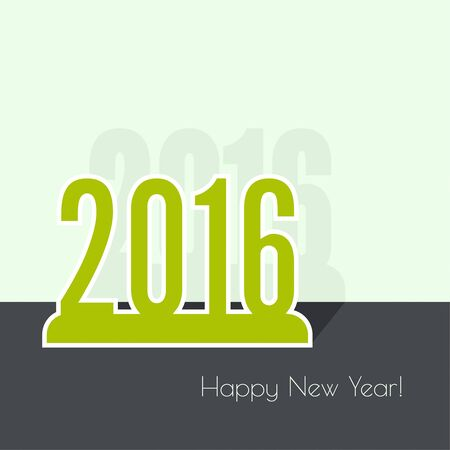 new years resolution: creative happy new year 2016 design. Flat design with shadow. Outline. Illustration