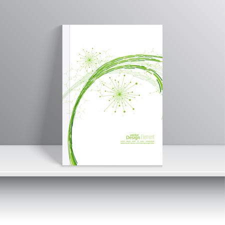 book cover: Magazine Cover with dynamic emitted particles. Node molecule structure. Science and connection concept. green curve