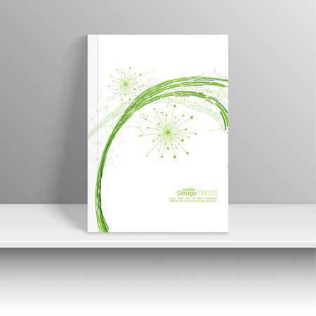 carpetas: Portada de revista con partículas emitidas dinámicos. estructura de la molécula de nodo. Ciencia y concepto de conexión. curva verde