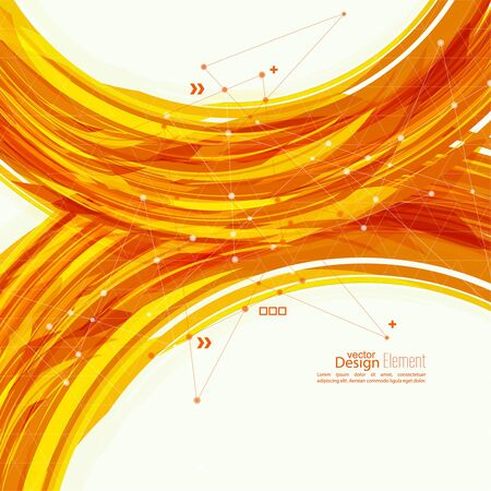 Abstract background with orange stripes, plus. Concept new technology and dynamic motion. Digital Data Visualization. Arc with symbols. Annual Report with information dots, circle, wave Illustration
