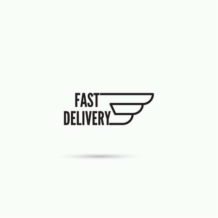 quickness: Abstract vector logo design template. Fast delivery with the wing. Carrier, Courier Service
