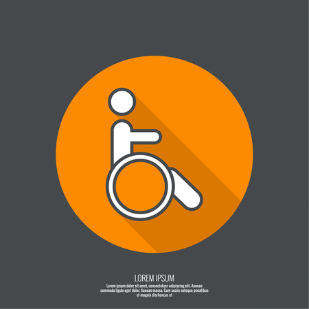 limited access: Symbol man on the wheelchair. Limited capacity, parking, toilet for the disabled. minimal. Outline. Icon, pictogram, button with shadow