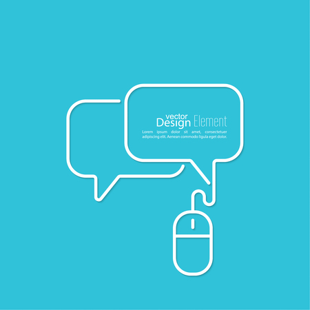 Abstract background with Speech Bubbles symbol. Chat icon. Concept showing conversation and discussion, question and answer. Symbols of computer mouse with cable.