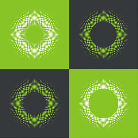 differing: Round banner of pixels. Differing halftone ring. Geometric Shapes and Light Ray. Set. green, white