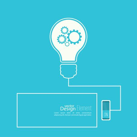 brainstorming: Bulb light idea with switch and gears. concept of big ideas inspiration innovation, invention, effective thinking. inclusion of thinking. Text box.