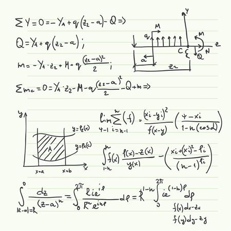 teorema: Vector patr�n con f�rmulas matem�ticas, c�lculos, gr�ficos, la prueba y la investigaci�n cient�fica en el campo del �lgebra. Hoja de papel con personajes dibujados a mano.