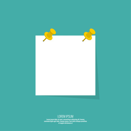 Blank paper note with push pin. Vector design in a flat style. Sheet for notes, memos