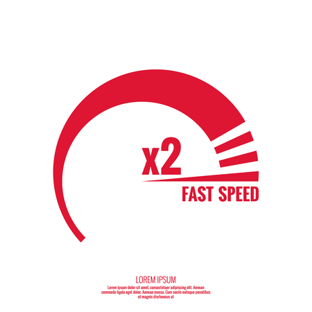 performance: The measuring device with  scale. Speedometer. The concept of maximum acceleration and fast speed. Illustration