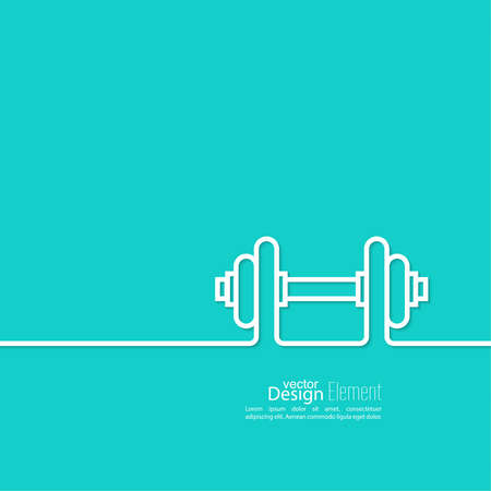 muscle training: Dumbbells icon. sport and muscle training. flat design. outline. minimal.