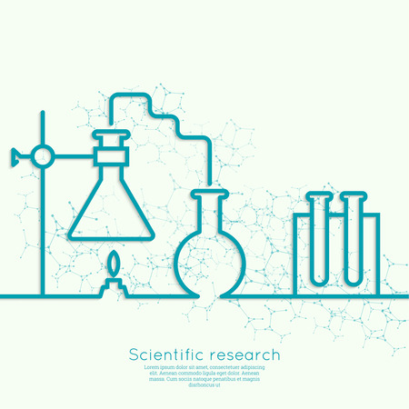 The concept of chemical science research lab retorts, beakers, flasks and other equipment. Biological and scientific tests. discovery new technologies. minimal. Outline.