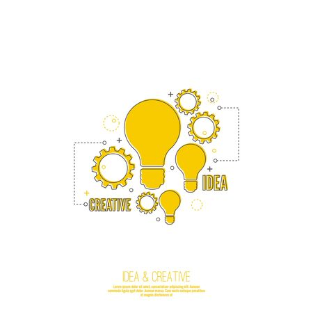 idea lamp: Electric lamp and gear. Bulb light idea. concept of big ideas inspiration innovation, invention, connection and operation engineering, teamwork, breakthrough. Line art.