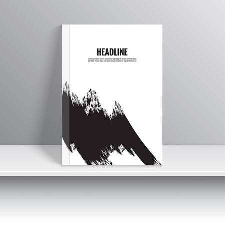 brocha de pintura: Establecer la portada de revista con los movimientos negros de la pintura. Para el libro, folleto, folleto, cartel, folleto, folleto, portada del CD, tarjetas postales, tarjetas de visita, el informe anual. ilustraciones del vector. fondo abstracto Vectores
