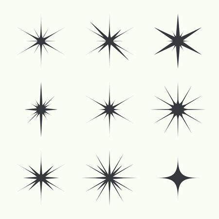 Vector set of sparkle lights stars. Stars with rays, explosion, fireworks. light background  イラスト・ベクター素材