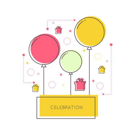 marco cumpleaños: Resumen de fondo con globos, regalos y formas geométricas. Lugar para el texto felicitaciones.