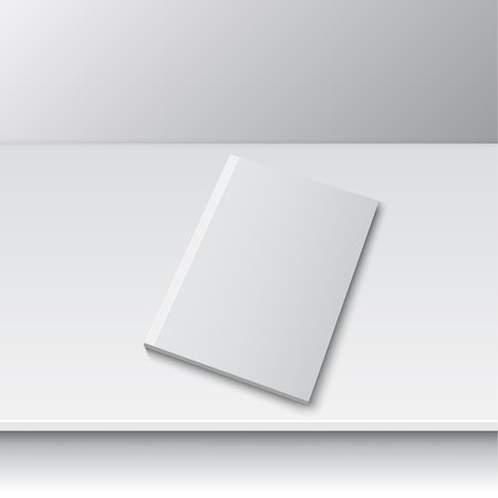 blank magazine: Blank empty magazine or book or booklet, brochure, catalog template  on a gray shelf. vector