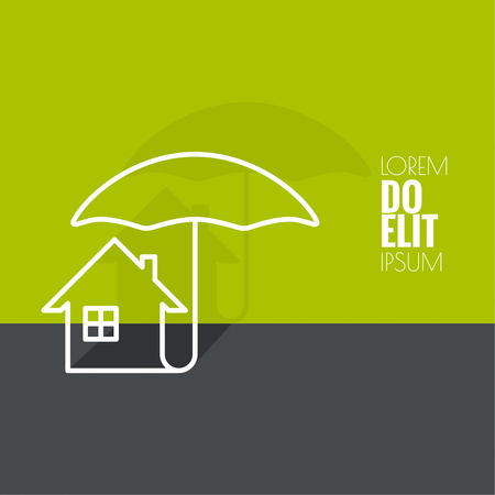 good investment: Symbol of the house under the protection of an umbrella. Insurance, good investment, a safe home. minimal. Outline. flat shadow. Illustration