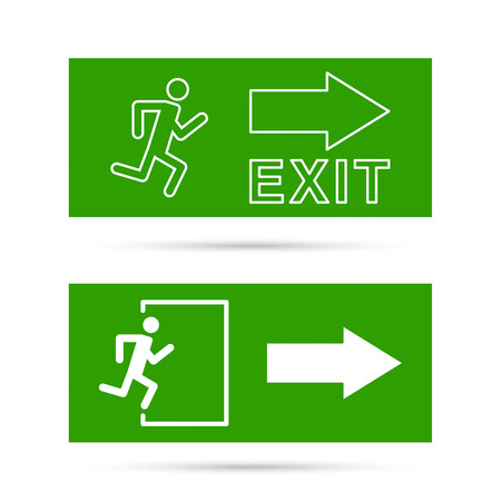 exit emergency sign: Emergency exit sign.  Running man on a green background. vector. Outline, minimal Illustration