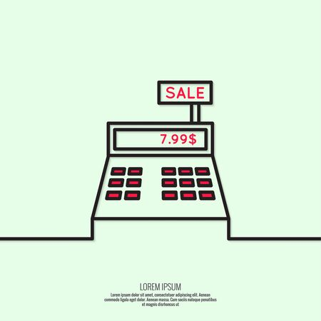 pay check: Abstract background with the cash register. Pictogram icon. minimal, outline.