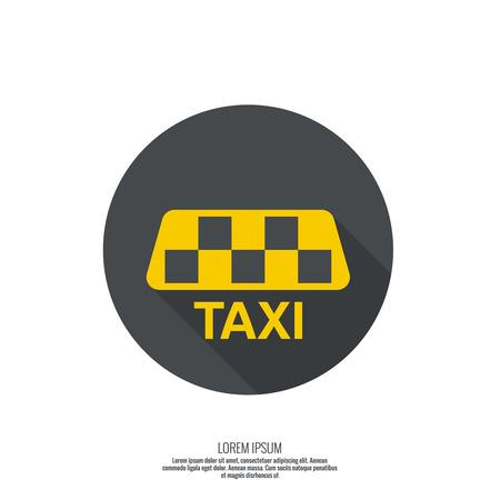 taxi: Muestra del taxi. La cabina de la máquina para el transporte rápido de pasajeros. mínimo. diseño plano. botón para web y aplicaciones móviles.