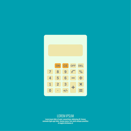 percentage sign: Calculator top view. Vector icon. Flat design. Illustration