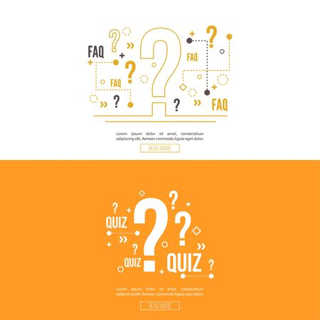 questionail: Quiz background. The concept is the question with the answer. vector. Line art. Web and mobile app. Illustration