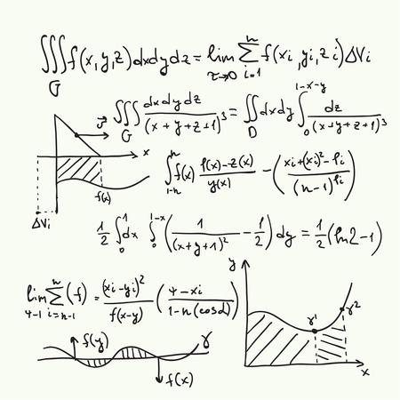 matemáticas: Vector patrón con fórmulas matemáticas, cálculos, gráficos, la prueba y la investigación científica en el campo del álgebra. Hoja de papel con personajes dibujados a mano.
