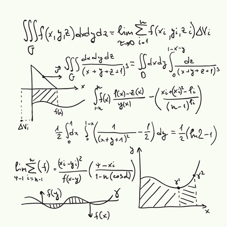 mathematics: Vector pattern with mathematical formulas, calculations, graphs, proof and scientific research in the field of algebra. Paper sheet with hand-drawn characters.