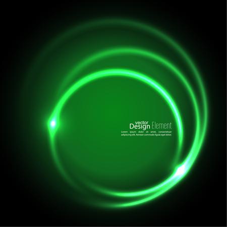 抽象的な背景光渦巻く背景。交差カーブ。熱烈なスパイラル。エネルギー フロー トンネル。ベクトル。グリーン