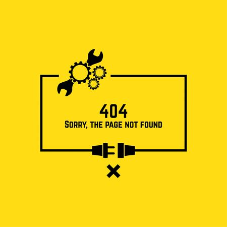 page not found: 404 connection error. Abstract background with wire plug and socket. Sorry, page not found. vector.