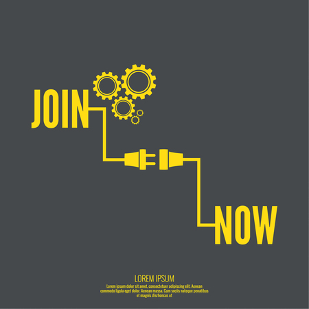 Join Us sign with pointer and arrow. wire plug and socket.