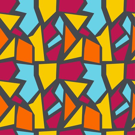irregular: Vector seamless pattern with multi-colored geometric shapes of irregular shape. Seamless Texture. yellow, red, orange, blue