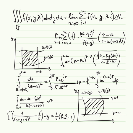 Vector pattern with mathematical formulas, calculations, graphs, proof and scientific research in the field of algebra. Paper sheet with hand-drawn characters. Imagens - 49869815