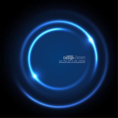 Resumen de fondo con telón de fondo de remolino luminoso. curvas de intersección. Espiral al rojo vivo. El túnel de flujo de energía. Vector. azul