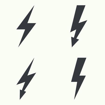 rayo electrico: Vector set of  thunder lighting icons.  electric lightning. Danger