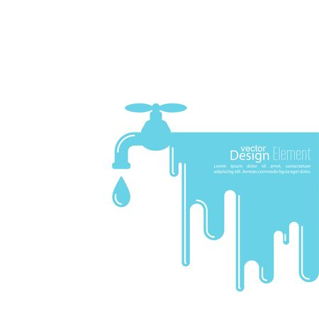 Abstract background with tap water drop. Flat design. Concept of saving resources.