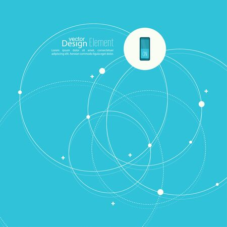 node: Abstract background with overlapping circles and dots. Chaotic motion. Round banner with empty space for text. Node molecule structure. Science and connection concept. Illustration