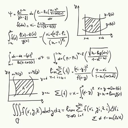 Modèle vectoriel avec des formules mathématiques, des calculs, des graphiques, la preuve et la recherche scientifique dans le domaine de l'algèbre. La feuille de papier avec des personnages dessinés à la main. Vecteurs