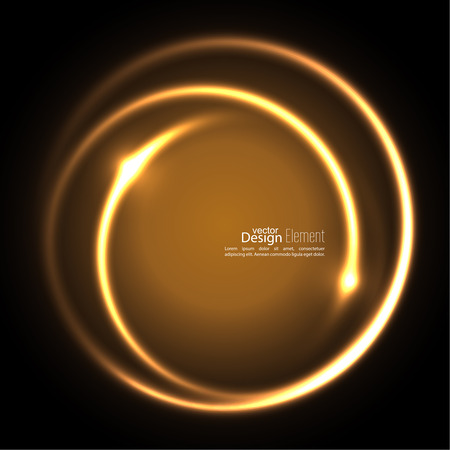 circle frames: Abstract background with luminous swirling backdrop. Intersection curves. Glowing spiral. The energy flow tunnel. Vector. gold, yellow