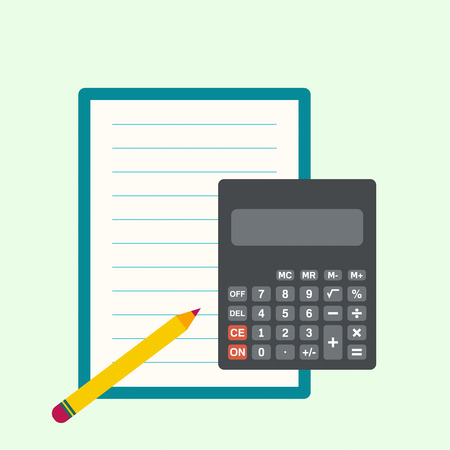 subtract: Calculator, sheets of paper and a pencil. The concept of counting and analysis, tax calculation, profit losses.
