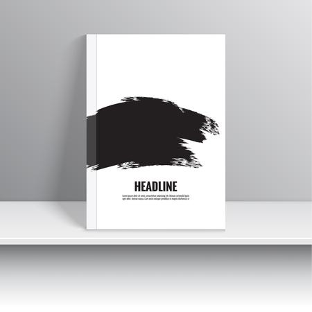 cd: Set Magazine Cover with black strokes of paint. For book, brochure, flyer, poster, booklet, leaflet, cd cover, postcard, business card, annual report. vector artwork. abstract background