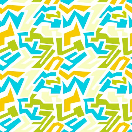 irregular shapes: Vector seamless pattern with multi-colored geometric shapes of irregular shape. Seamless Texture. yellow, blue, green Illustration